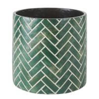 Green cement planter with white print H36cm