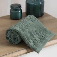 Green Cotton Towel with Leaf Motifs 30x50 Harmonia