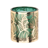 LINDIA - Green glass scented candle with gold cut-out metal
