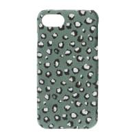 Set of 2 - Green velvet iPhone 6/7/8/SE case with black leopard print
