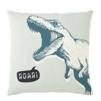 Grey and Green Cotton Cushion with Dinosaur Print 40x40 Roar
