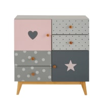Grey and Pink 2-Door 4-Drawer Cabinet April