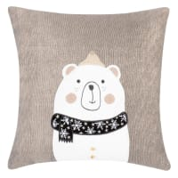Grey Cotton Christmas Cushion Cover with White, Black and Gold Bear Print 40x40cm