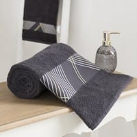 Grey Cotton Towel with Graphic Motifs 70x140