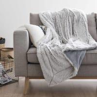Grey Faux Fur Blanket 130x170