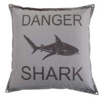 Grey Shark Print Pouffe Surfing