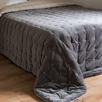 Grey Velvet Quilted Bedspread 240x260