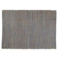 Grijs gevlochten katoenen en jute LODGE tapijt 160 x 230 cm