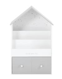 Grijze en witte kinderboekenkast in huisvorm met 1 lade Celeste