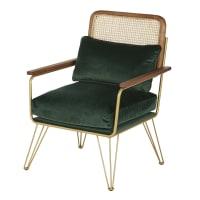 ROSALIE - Groen fluwelen fauteuil uit gevlochten rotan
