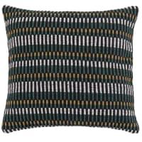MASEGO - Groene, ecru, zwarte en beige kussenhoes van geweven katoen 40 x 40 cm