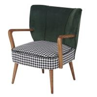 MEYER - Groene fluwelen vintage fauteuil met pied-de-poule motief