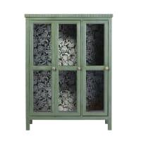 ROSARIO - Groene vitrinekast met 2 deuren van massief acaciahout en gehard glas