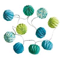 Guirlande lumineuse en papier bleu/vert L 135 cm Léo