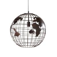 Hängelampe Weltkarte aus schwarzem Metall Travellers