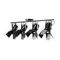 Hängeleuchte schwarz aus Metall mit 4 schwenkbaren Spots B 103 cm Hollywood