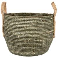 Hand-woven olive green corn fibre basket