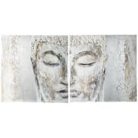 Handgemaltes Diptychon , 97x194, silbern Silver Bouddha