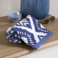 Handtuch aus blauer Baumwolle mit grafischen Motiven 30x50