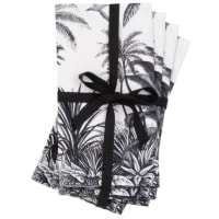 PARADISE - Handtücher aus Bio-Baumwolle mit Tropenmotiv, weiß und schwarz, Set aus 4