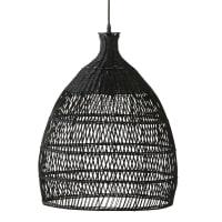 Hanglamp van zwart gevlochten rotan D48 Mamba