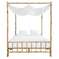 Hemelbed van bamboe en witte stof 160x200 Coconut