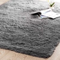 Hochflor Teppich  aus Stoff, 140 x 200cm, grau Inuit