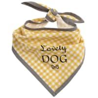 Hondenbandana van gele katoen met vichyprint 52x52 Graphik