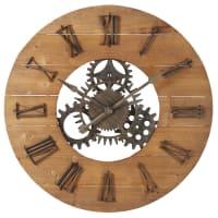 Horloge à rouages en sapin et métal noir D89 Scott