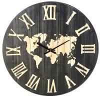 Horloge carte du monde en sapin gravé D95 Territoire