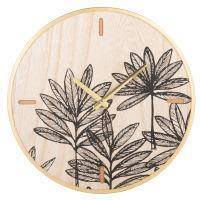 Horloge coloris naturel motifs feuilles blanches