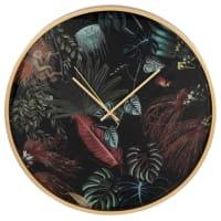 BARNET - Horloge en métal doré et verre imprimé tropical D45