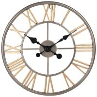 Horloge en métal gris et doré D50 Anchorage