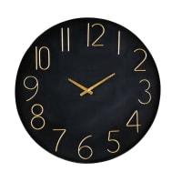 Horloge en métal noir et doré D76 Charlize