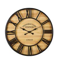Horloge en pin et métal noir D92 Kansas