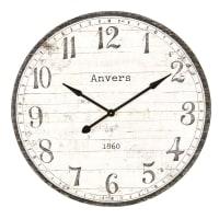 Horloge en pin noir et blanc D92 Augustin