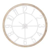 Horloge en sapin et métal blanc Island
