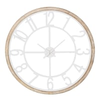 Horloge en sapin et métal blanc D95 Island