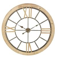 Horloge en sapin et métal noir D100 Austin