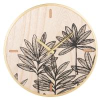 Horloge imprimé feuilles noires D35
