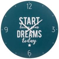 Horloge imprimée bleue Start Dreaming