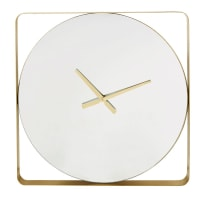 Horloge miroir en métal doré 70x70 Lauren