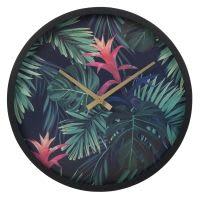 Horloge noire imprimé tropical Palm