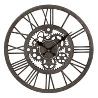 Horloge rouages en métal argenté Andy