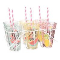 Houder voor 6 glazen van wit metaal met roze rietjes