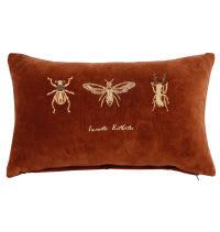 House de coussin orange imprimé insectes 30x50