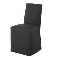 Housse de chaise en lin lavé gris charbon Diana