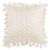 Housse de coussin à pompons en coton blanc 40x40 Sitra