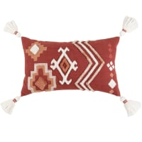 AZRA - Housse de coussin brodée et tuftée motifs graphiques brique, vieux rose et écru 30x50