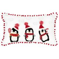 Housse de coussin de Noël en coton blanc broderies pingouins imitation fourrure 30x50